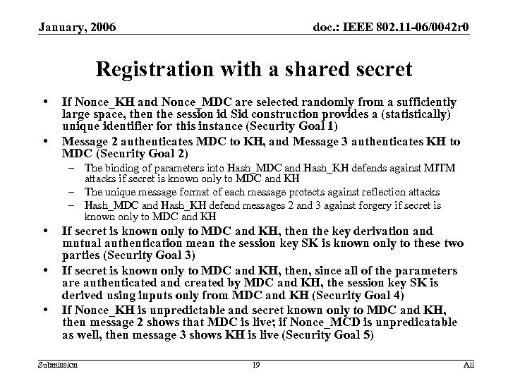 January, 2006 doc. : IEEE 802. 11 -06/0042 r 0 Registration with a shared