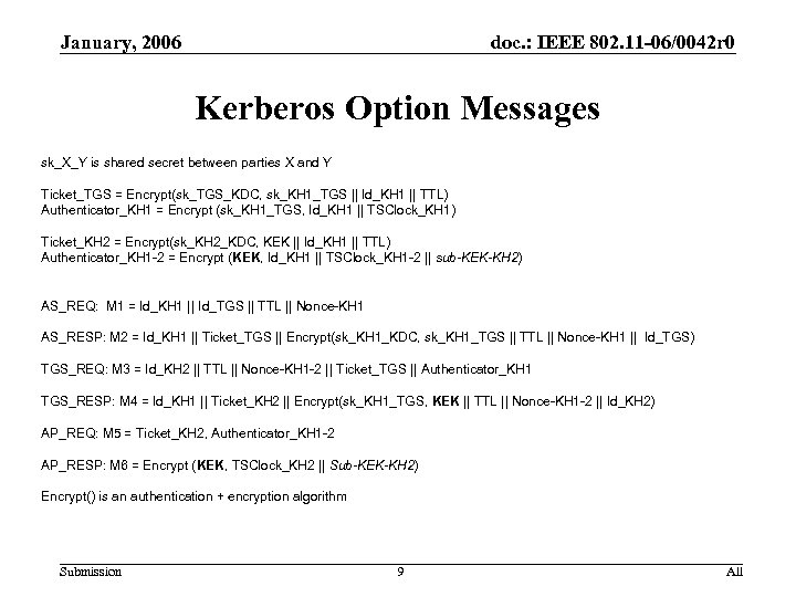 January, 2006 doc. : IEEE 802. 11 -06/0042 r 0 Kerberos Option Messages sk_X_Y