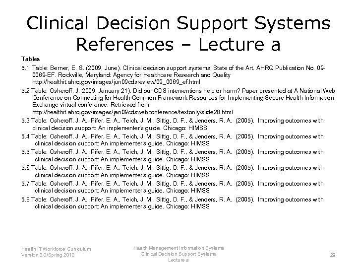 Clinical Decision Support Systems References – Lecture a Tables 5. 1 Table: Berner, E.