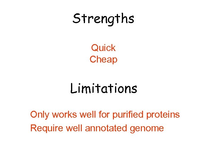 Strengths Quick Cheap Limitations Only works well for purified proteins Require well annotated genome