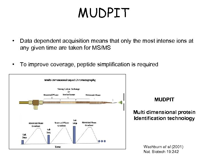 MUDPIT • Data dependent acquisition means that only the most intense ions at any