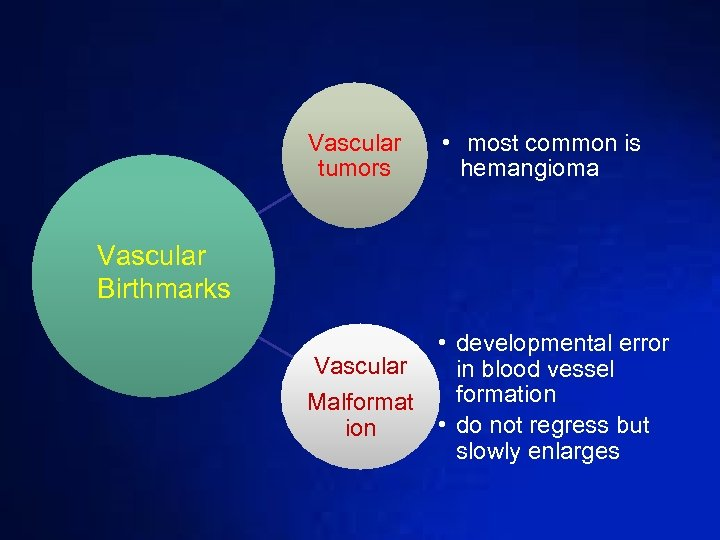 Vascular tumors • most common is hemangioma Vascular Birthmarks • developmental error Vascular in