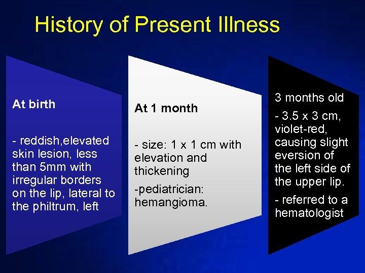 History of Present Illness At birth At 1 month - reddish, elevated skin lesion,