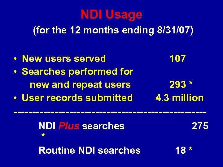 NDI Usage (for the 12 months ending 8/31/07) • New users served • Searches