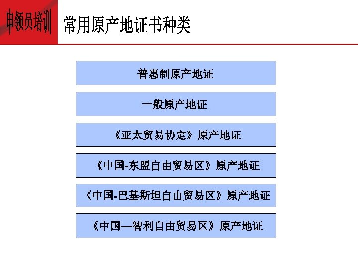 普惠制原产地证 一般原产地证 《亚太贸易协定》原产地证 《中国-东盟自由贸易区》原产地证 《中国-巴基斯坦自由贸易区》原产地证 《中国—智利自由贸易区》原产地证