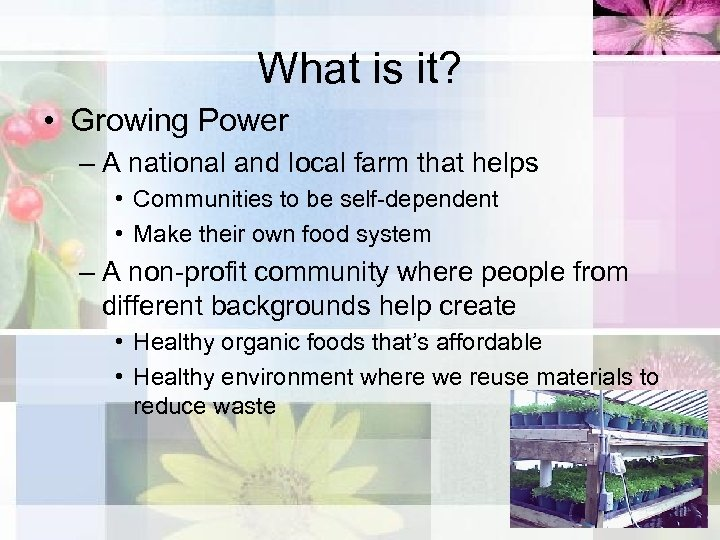What is it? • Growing Power – A national and local farm that helps