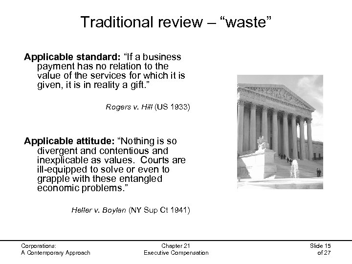 "Traditional review – ""waste"" Applicable standard: ""If a business payment has no relation to"