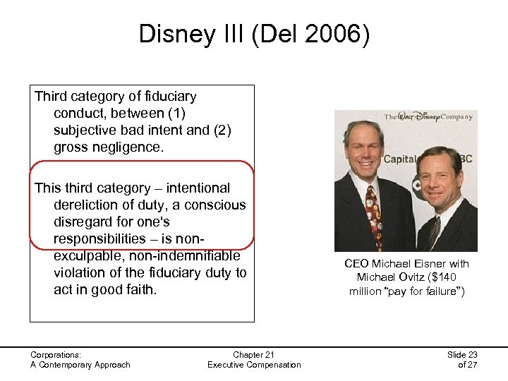 Disney III (Del 2006) Third category of fiduciary conduct, between (1) subjective bad intent