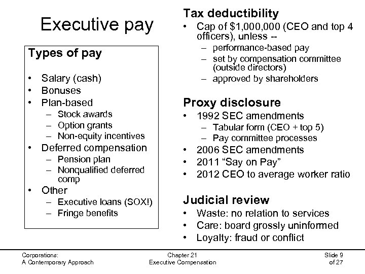Executive pay • Cap of $1, 000 (CEO and top 4 officers), unless -–