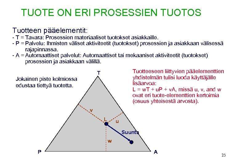 TUOTE ON ERI PROSESSIEN TUOTOS Tuotteen pääelementit: - T = Tavara: Prosessien materiaaliset tuotokset