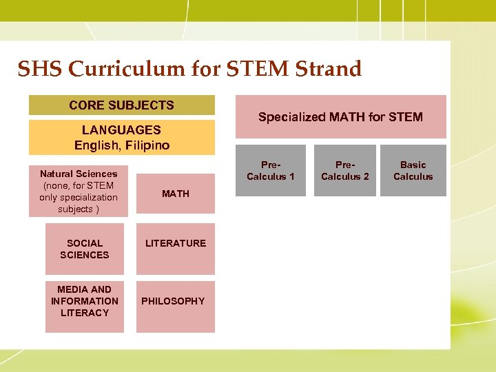 SHS Curriculum for STEM Strand CORE SUBJECTS LANGUAGES English, Filipino Natural Sciences (none, for