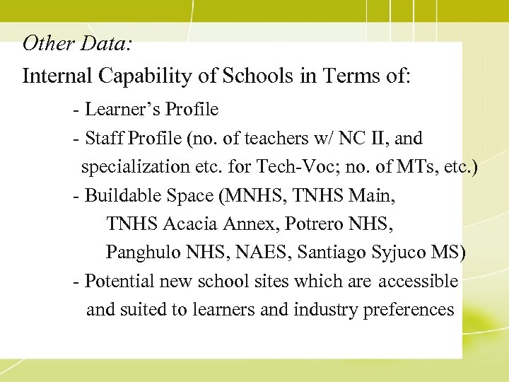 Other Data: Internal Capability of Schools in Terms of: - Learner's Profile - Staff
