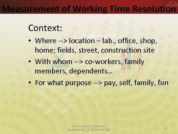Measurement of Working Time Resolution Context: • Where --> location – lab. , office,