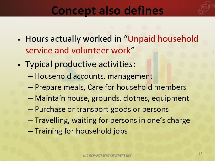 """Concept also defines § § Hours actually worked in """"Unpaid household service and volunteer"""