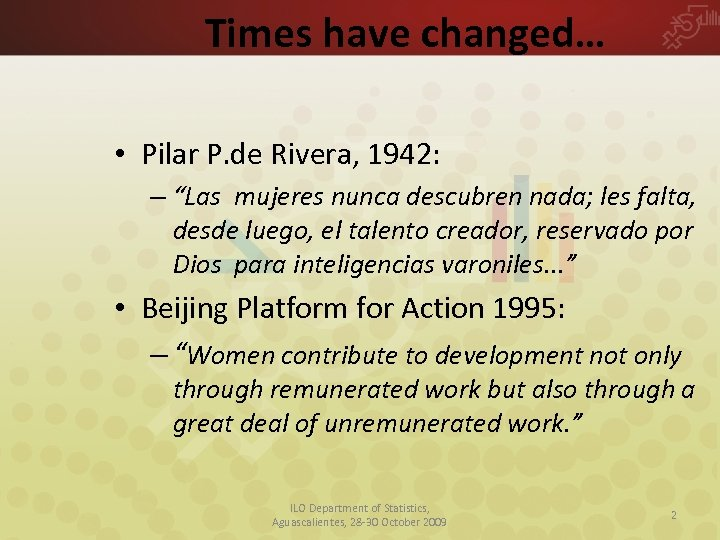 """Times have changed… • Pilar P. de Rivera, 1942: – """"Las mujeres nunca descubren"""