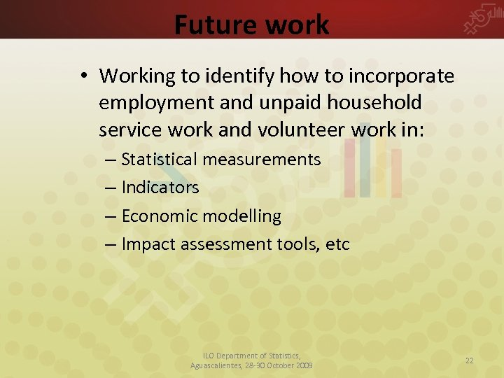 Future work • Working to identify how to incorporate employment and unpaid household service