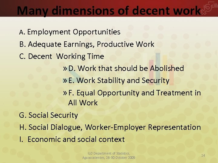 Many dimensions of decent work A. Employment Opportunities B. Adequate Earnings, Productive Work C.