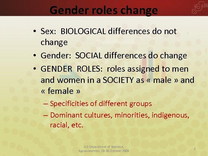 Gender roles change • Sex: BIOLOGICAL differences do not change • Gender: SOCIAL differences
