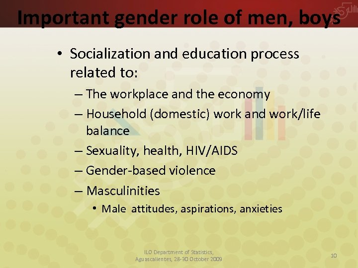 Important gender role of men, boys • Socialization and education process related to: –
