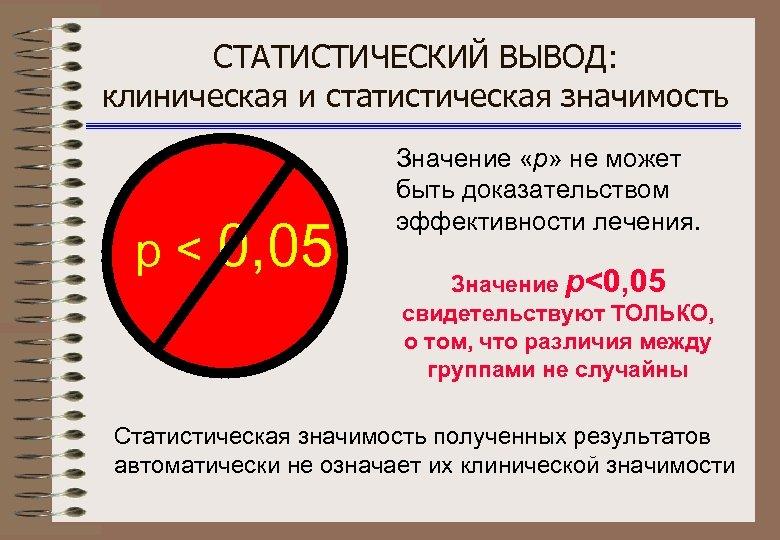 СТАТИСТИЧЕСКИЙ ВЫВОД: клиническая и статистическая значимость p < 0, 05 Значение «р» не может