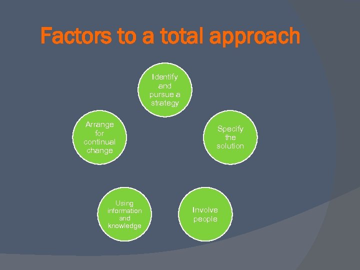 Factors to a total approach Identify and pursue a strategy Arrange for continual change