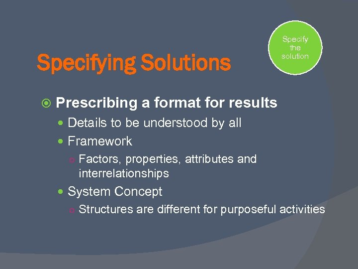Specifying Solutions Specify the solution Prescribing a format for results Details to be understood