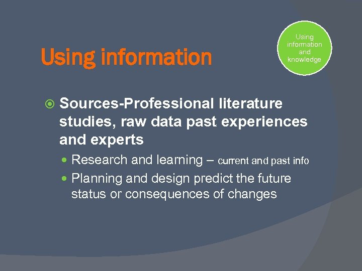 Using information and knowledge Sources-Professional literature studies, raw data past experiences and experts Research