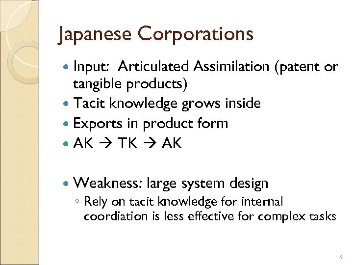 Japanese Corporations Input: Articulated Assimilation (patent or tangible products) Tacit knowledge grows inside Exports