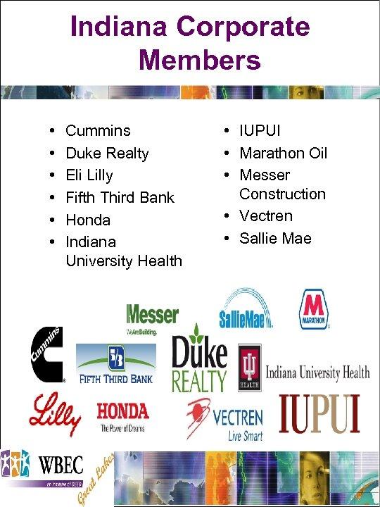 Indiana Corporate Members • • • Cummins Duke Realty Eli Lilly Fifth Third Bank
