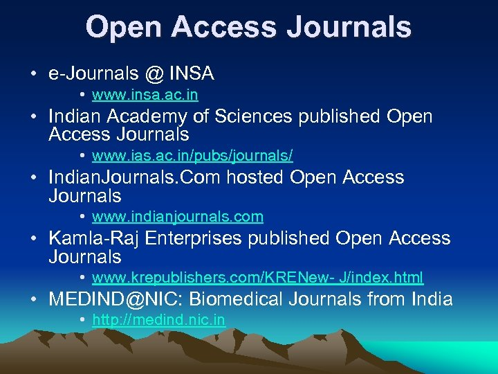 Open Access Journals • e-Journals @ INSA • www. insa. ac. in • Indian