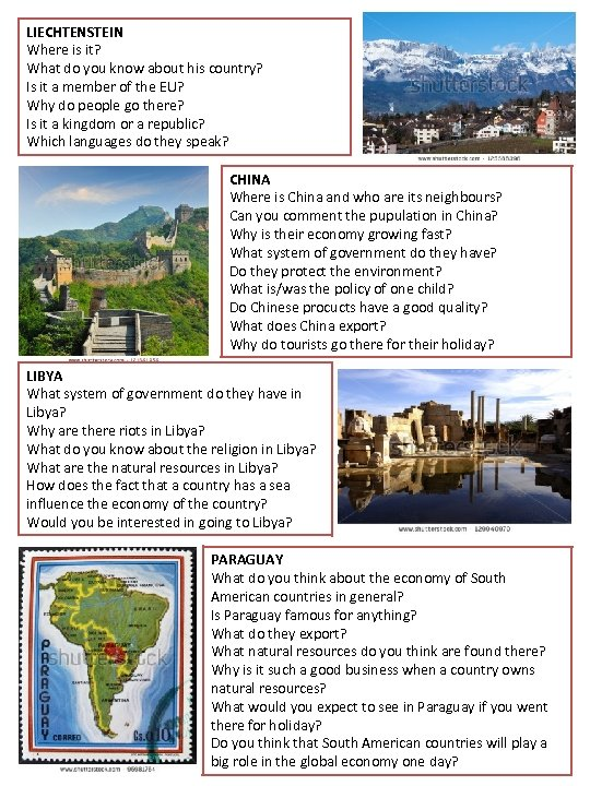 LIECHTENSTEIN Where is it? What do you know about his country? Is it a