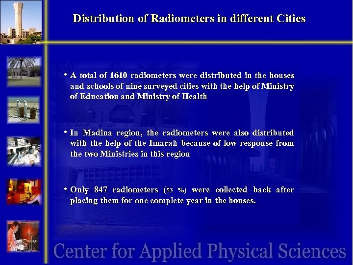 Distribution of Radiometers in different Cities • A total of 1610 radiometers were distributed