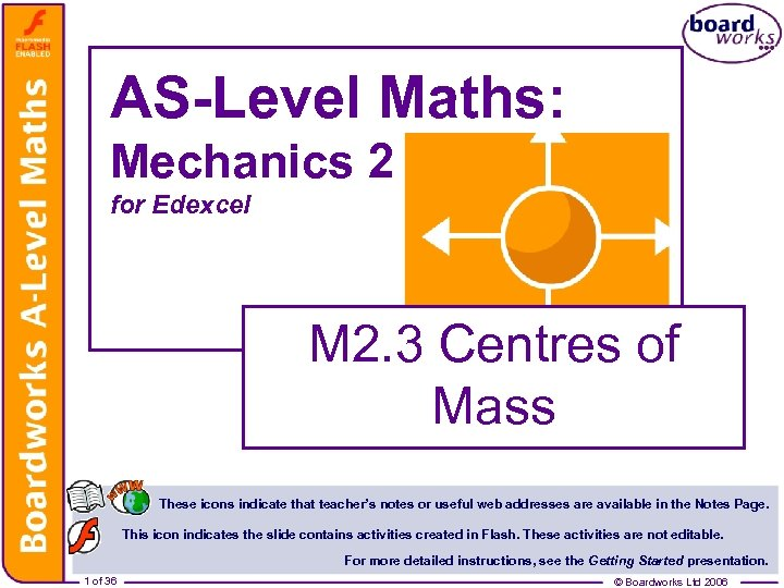 AS-Level Maths: Mechanics 2 for Edexcel M 2. 3 Centres of Mass These icons