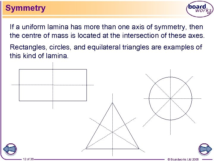 Symmetry If a uniform lamina has more than one axis of symmetry, then the