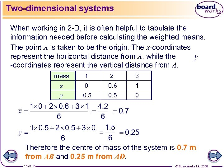 Two-dimensional systems When working in 2 -D, it is often helpful to tabulate the