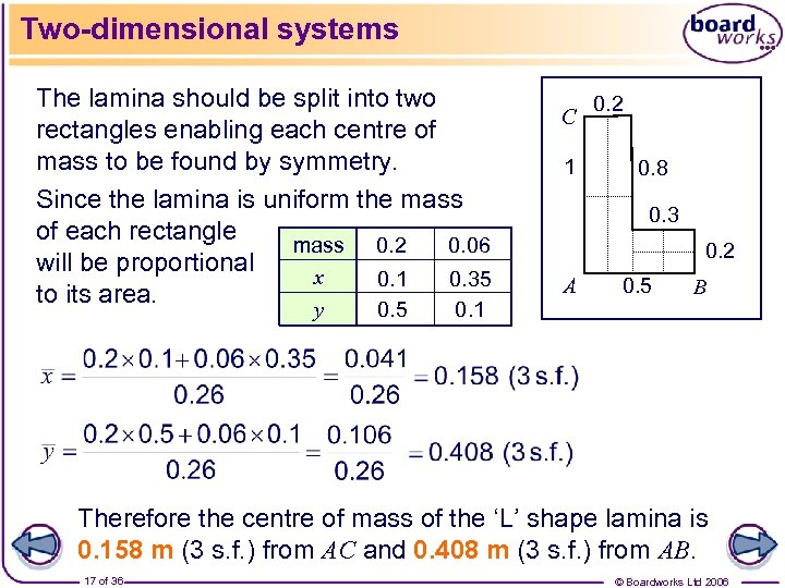 Two-dimensional systems The lamina should be split into two rectangles enabling each centre of