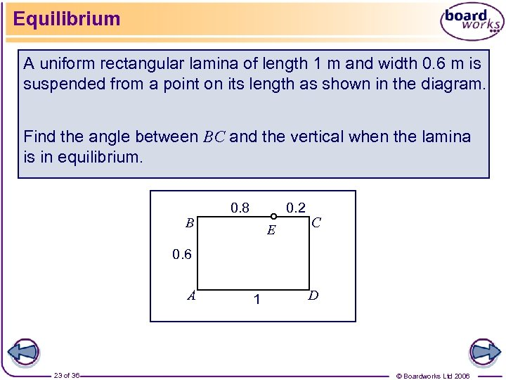 Equilibrium A uniform rectangular lamina of length 1 m and width 0. 6 m
