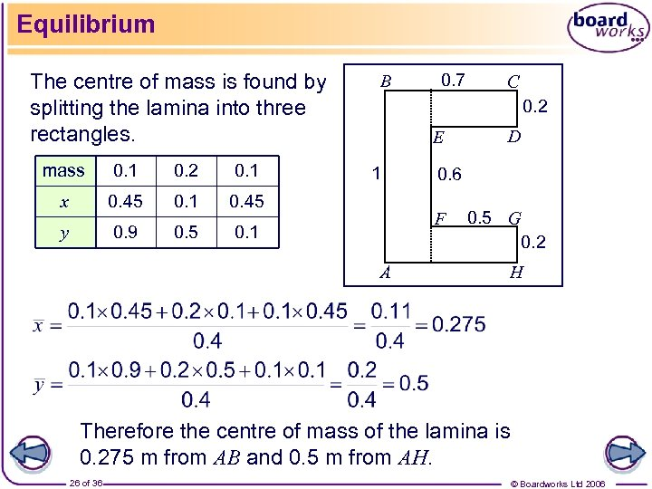 Equilibrium The centre of mass is found by splitting the lamina into three rectangles.