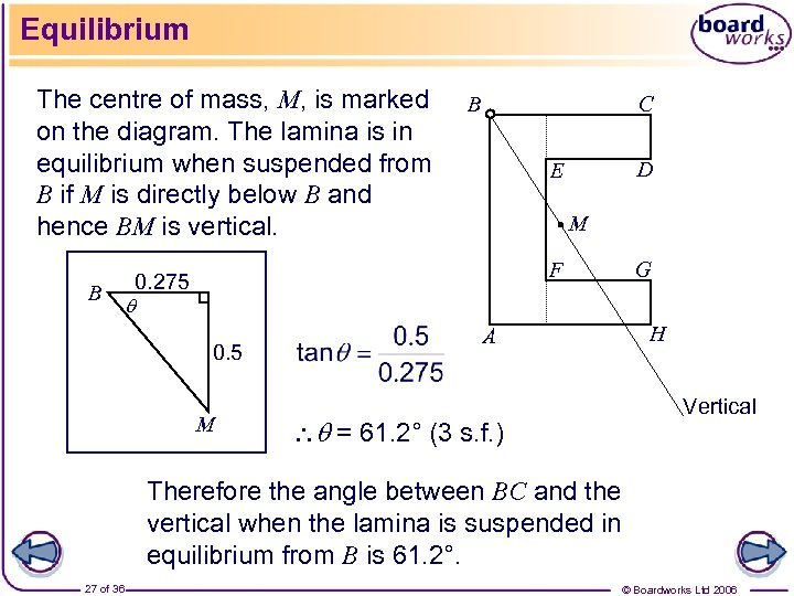Equilibrium The centre of mass, M, is marked on the diagram. The lamina is