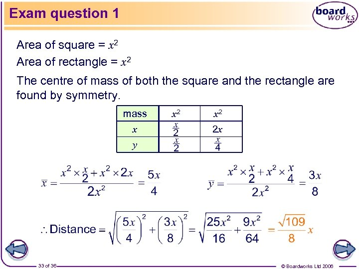 Exam question 1 Area of square = x 2 Area of rectangle = x