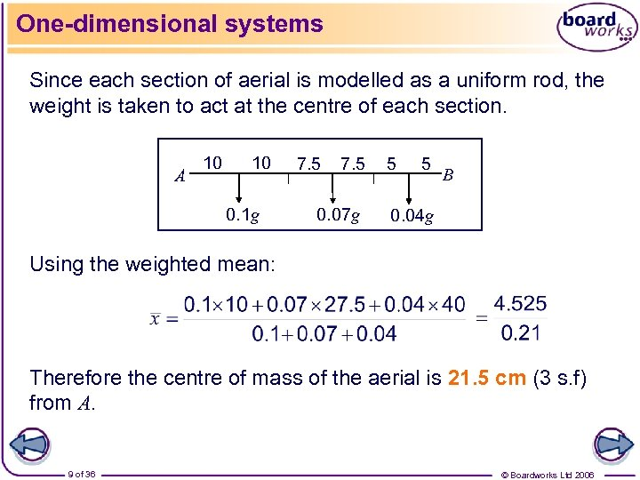 One-dimensional systems Since each section of aerial is modelled as a uniform rod, the