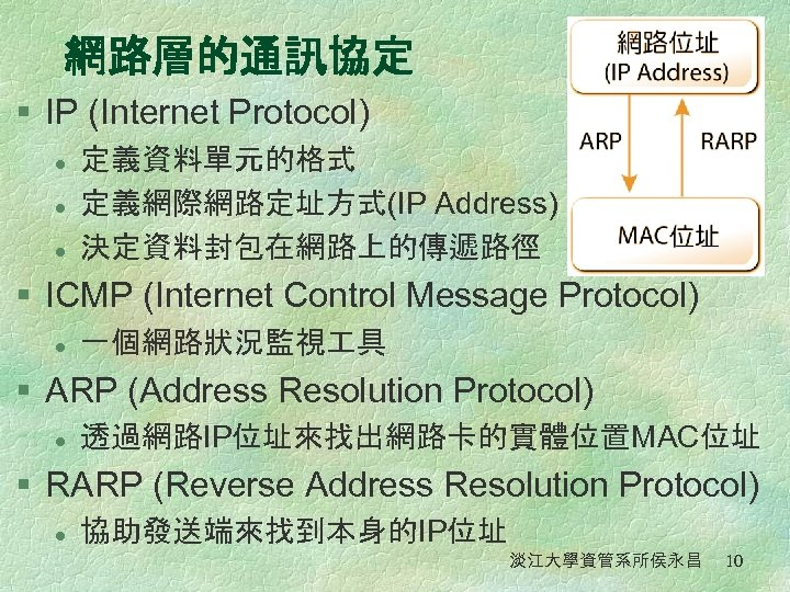 網路層的通訊協定 § IP (Internet Protocol) l l l 定義資料單元的格式 定義網際網路定址方式(IP Address) 決定資料封包在網路上的傳遞路徑 § ICMP
