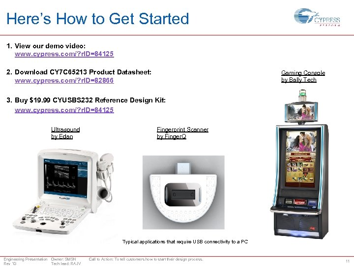 Here's How to Get Started 1. View our demo video: www. cypress. com/? r.
