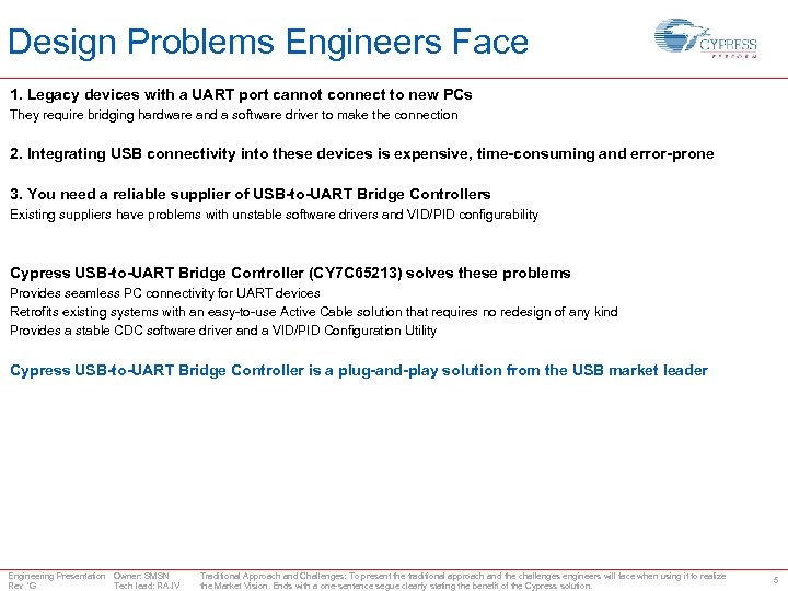 Design Problems Engineers Face 1. Legacy devices with a UART port cannot connect to