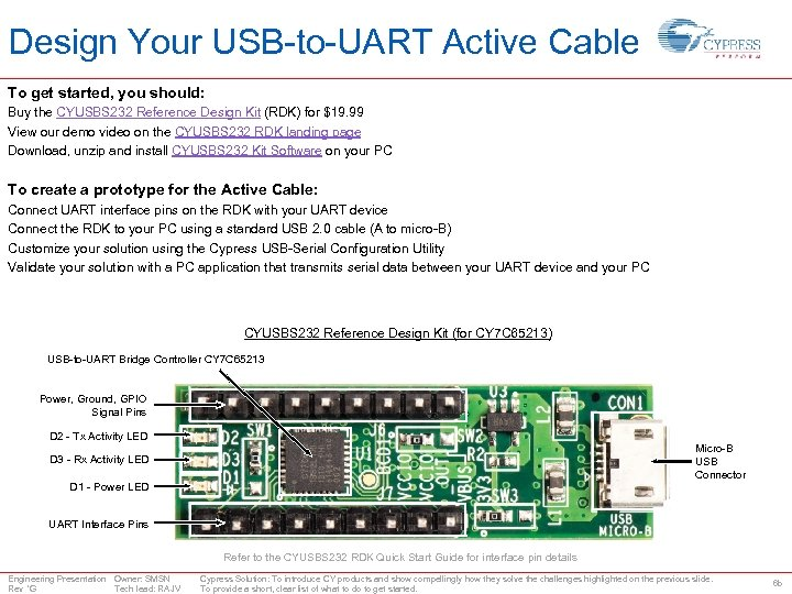 Design Your USB-to-UART Active Cable To get started, you should: Buy the CYUSBS 232