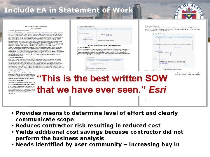 """Include EA in Statement of Work """"This is the best written SOW that we"""