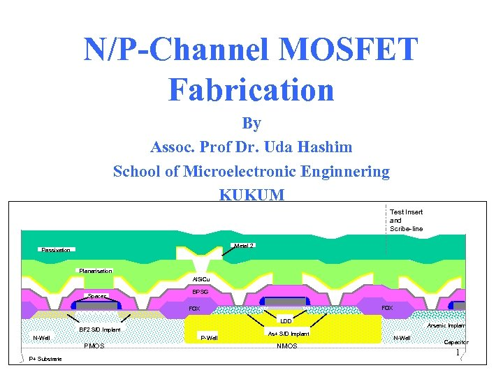 N/P-Channel MOSFET Fabrication By Assoc. Prof Dr. Uda Hashim School of Microelectronic Enginnering KUKUM