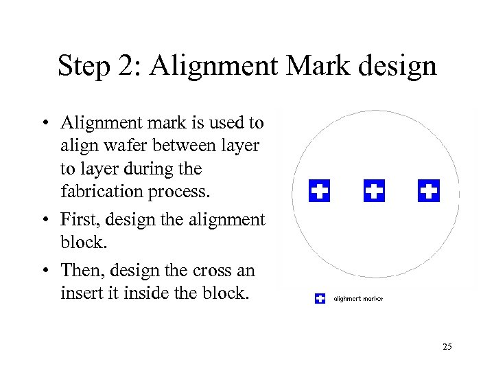 Step 2: Alignment Mark design • Alignment mark is used to align wafer between