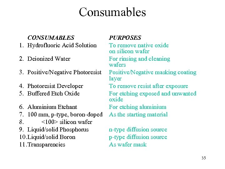 Consumables CONSUMABLES 1. Hydrofluoric Acid Solution PURPOSES To remove native oxide on silicon wafer