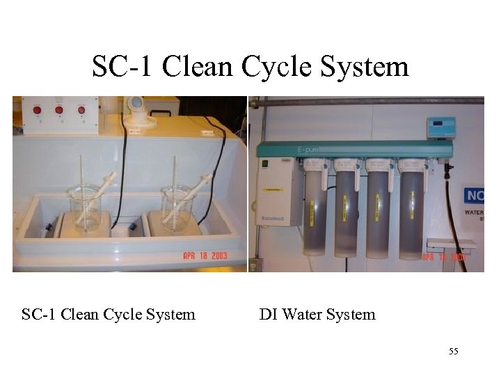 SC-1 Clean Cycle System DI Water System 55